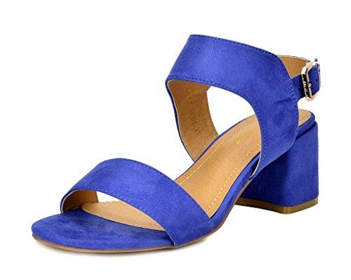 DREAM PAIRS Women's Duchess_01 Royal Blue Fashion Block Slingback Heeled Sandals Size 6.5 B(M) - Strappy Color Block Platform
