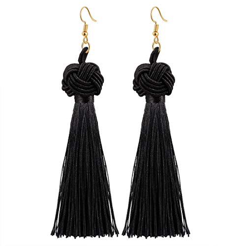 CAT EYE JEWELS Colorful Tassel Earrings Thread Fringe Eardrop Celtic Knot Dangle Earrings Black