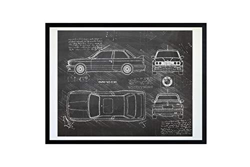 DolanPaperCo #380 BMW M3 E30 (1986-92) Art Print, da Vinci Sketch - Unframed - Multiple Size/Color Options (16x20, Blackboard) (Best Looking Bmw M3)