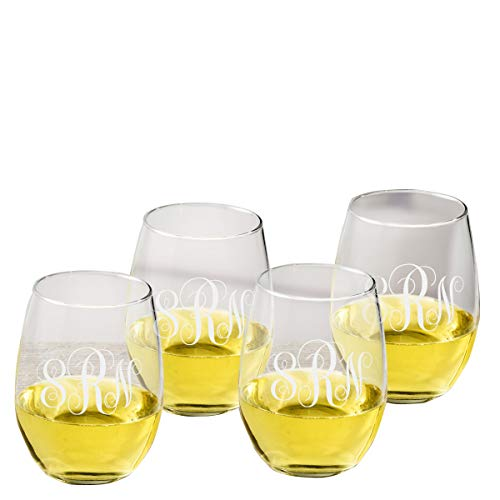 Personalized Stemless Wine Glass - Set of 4 - Monogrammed Wine Glass - Wine Red Monogrammed
