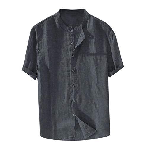 HimTak Men's Baggy Cotton Linen Solid Color Short Sleeve Retro T Shirts Tops Blouse (Gray,M)