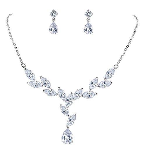 Mondora Women's Bling Cubic Zirconia Teardrop Wedding Y-Necklace Earrings Set Silver-Tone Clear by Mondora