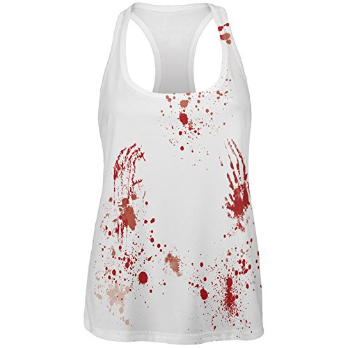 Halloween Blood Splatter Zombie Survivor All Over Womens Work Out Tank Top Multi LG ()