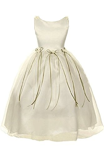 Satin Rosebuds Ribbon Flower Girls Organza Dress Christmas Wedding Ivory 2-14 -