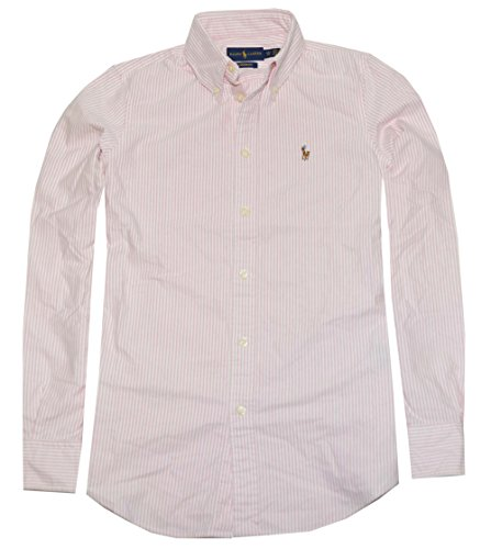 Custom Button Down Shirts (Polo Ralph Lauren Womens Custom Fit Oxford Button Down Shirt, Pink/White, S)