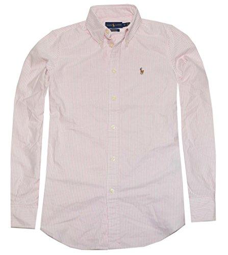 Custom Button Down Shirts (Polo Ralph Lauren Womens Custom Fit Oxford Button Down Shirt, Pink/White, S)