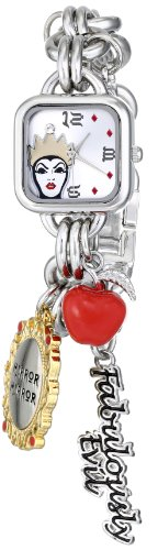 Disney Women's Evil Queen Silver Dial Silver-Tone Charm Watch