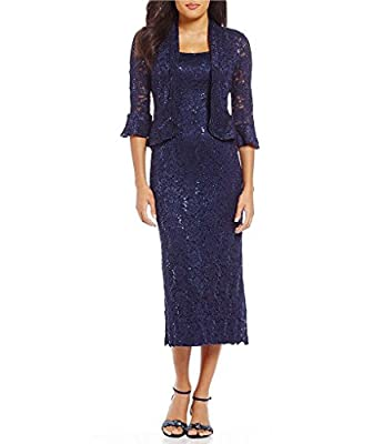 R&M Richards RM Richards Women's Sequin Lace Midi Dress With Jacket - Mother Of The Bride Wedding Dresses