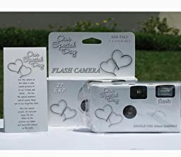 5 Pack Happy Hearts Wedding Party Disposable Cameras with Gift Box and Matching Tents, 27 Exp.