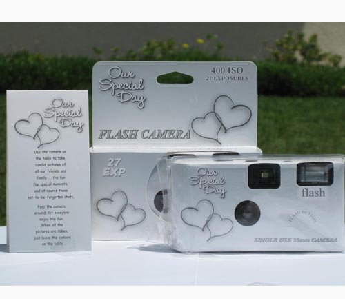 10 Pack Happy Hearts Wedding Party Disposable Cameras with Gift Box and Matching Tents