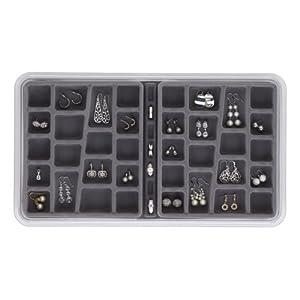 Neatnix Stax Jewelry Organizer Tray, 36 Compartments, Pearl Grey