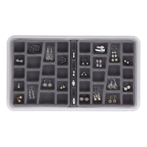Neatnix Stax Jewelry Organizer Tray, 36 Compartments, Pearl Grey