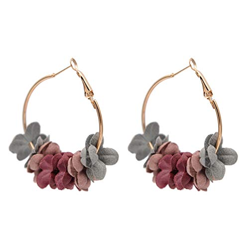 Super Cute Earing Fashion Fabric Flower Drop Earrings For Women 2019 Colorful Petal Circle Big Fancy Earring Jewelry,Colorful Flowers