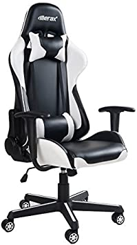 Amazon Com Merax White Ergonomic High Back Swivel Racing Style Gaming Chair Pu Leather With Lumbar Support And Headrest Furniture Decor