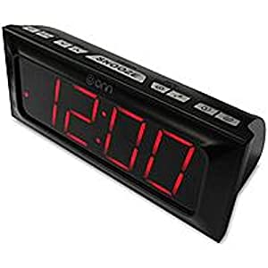 onn digital am fm alarm clock radio large 1 8 inch red led display home audio theater. Black Bedroom Furniture Sets. Home Design Ideas