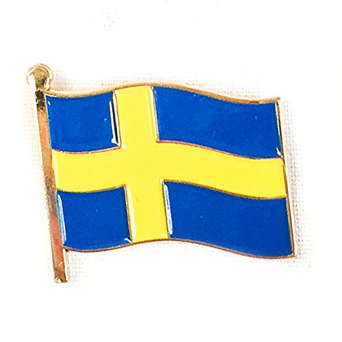 Sweden Waving Flag Lapel Pin Country Made of Metal (Sweden Country Flag)