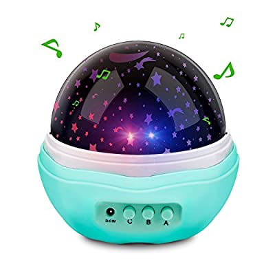 Number-One Multicolor Moon Star Projector Night Light Rotating Starry LED Projection Lamp Toys Children Bedroom Lamp, Decorative Light, Best for Baby Shower Gift Kids Bedroom - Blue