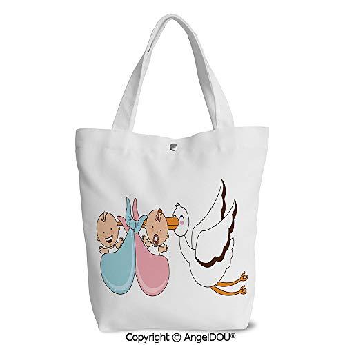 Women portable Canvas Shoulder Shopping bag Babies with Stork Mythical Congratul