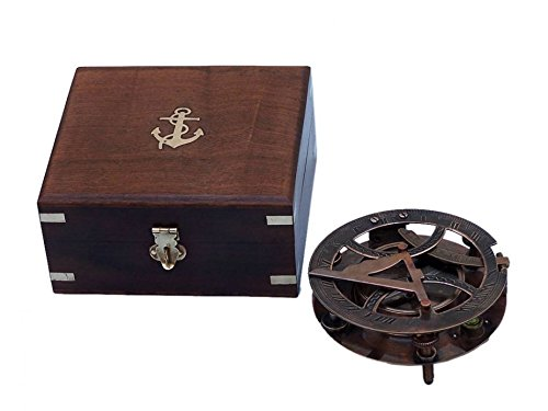 Antique Copper Round Sundial Compass with Rosewood Box 6\