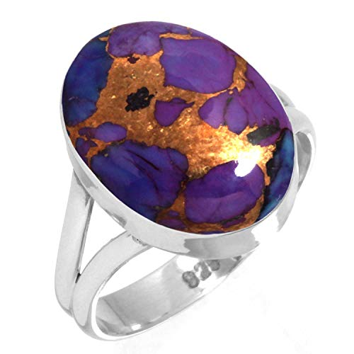 (Copper Purple Turquoise Ring 925 Sterling Silver Handmade Jewelry Size 5)