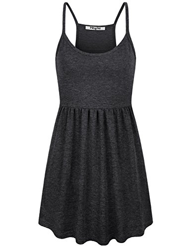 Hibelle Womens Racerback Tank, Maternity Swing Peplum Tunic Cami Summer Basic Empire Waist Pleated Home Sleep Camisole Spaghetti Strap Sleeveless Nursing Shirts Sleep Bra Top XLarge Black