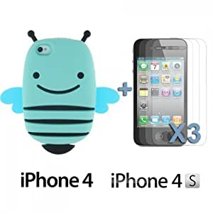 OnlineBestDigital - Bee Style 3D Soft Silicone Case for Apple iPhone 4S / Apple iPhone 4 - Blue with 3 Screen Protectors
