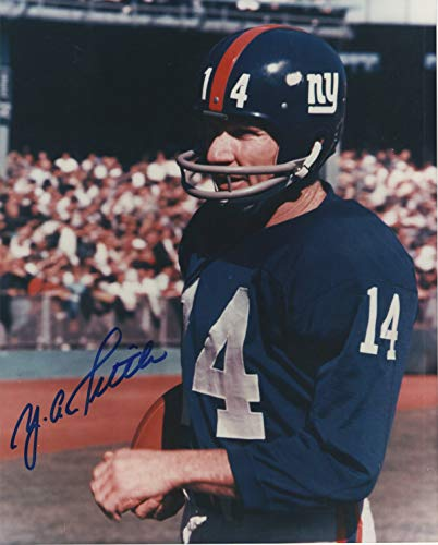 (Y. A. Tittle Hand Signed 8 x 10 Color Photo Signed in Blue Felt Pen)