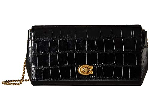 COACH Women's Embossed Croc Turnlock Clutch with Chain B4/Black One Size (Coach Handbags Embossed)