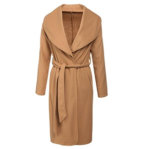 Brown Trench (Cindere womens Lapel Long Sleeve Open Front Thick Wool Trench Coat with Belt)