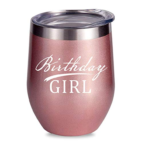 (ALISISTER Birthday Girl Wine Tumbler Insulated Stainless Steel Coffee Cup Stemless Funny Cold Glass With Lid 12Oz Women Mug Gift)