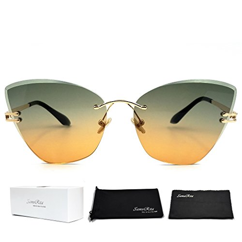 SamuRita Gradient Tinted Color Lenses Rimless Cateye Sunglasses(Black and - Sunglasses Color To