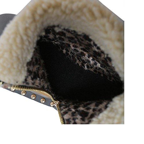COOLCEPT Damen Stiefel Zipper Warm Gefuttert Gray