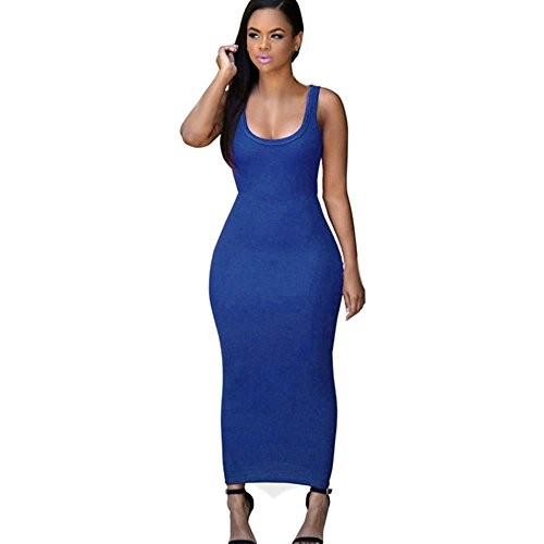 Women Summer Bandage Bodycon Dress Party Cocktail Maxi Long Dress (Blue, L)