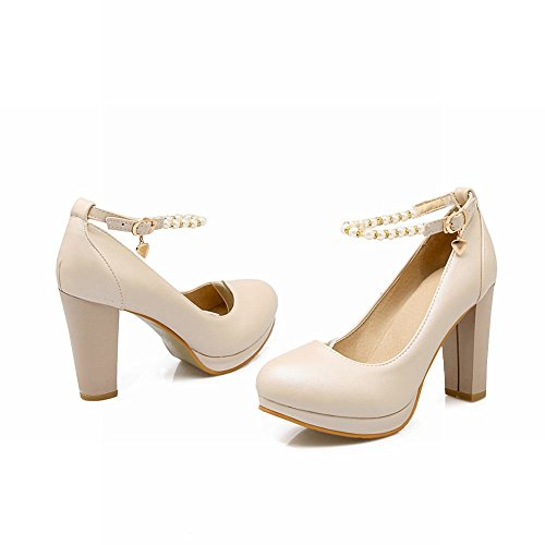 Carolbar Womens Ankle Strap Buckle Beaded High Heels Bridal Dress Pumps Shoes Beige upqu9Ks
