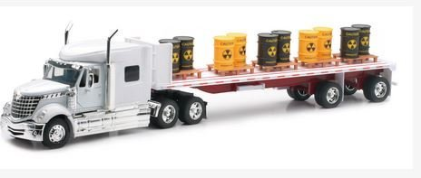 Newray International Lonestar Flatbed with Radioactive Waste Barrels 1/32 Scale Model Toy Truck (Flat Bed Truck Models)