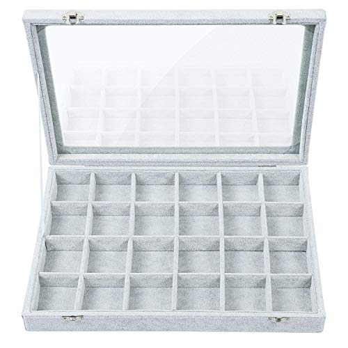 (Stylifing Jewelry Tray Showcase Display Storage Organizer Box Vintage Case Gray Velvet & Clear Lid with Lock (24 Grid))