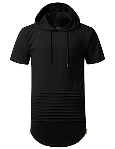 URBANCREWS Mens Hipster Hip Hop Short Sleeve Hoodie w/Zippers Black, M by URBANCREWS
