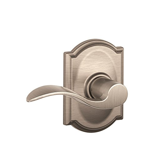 - Schlage Lock Company Camelot Trim with Accent Hall and Closet Lever, Satin Nickel (F10 ACC 619 CAM)