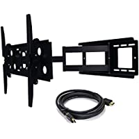 2xhome – NEW TV Wall Mount Bracket (Single Arm) and FREE HDMI cable – Secure Cantilever LED LCD Plasma Smart 3D WiFi Flat Panel Screen Monitor Monitor Display Large Displays - Long Swing Out Single Arm Extending