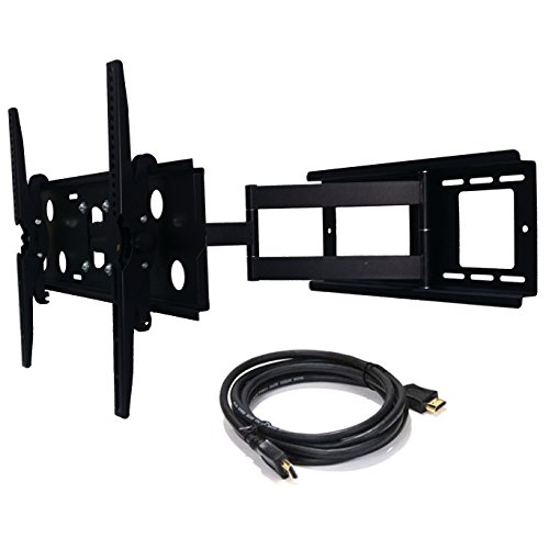 2xhome - NEW TV Wall Mount Bracket (Single Arm) and FREE HDMI cable - Secure Cantilever LED LCD Plasma Smart 3D WiFi Flat Panel Screen Monitor Moniter Display Large Displays ()