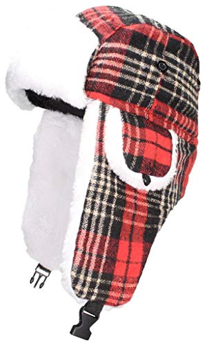 Best Winter Hats Big Kids Quality Tartan Plaid Russian/Trapper Hat W/Faux Fur (One Size) - Red