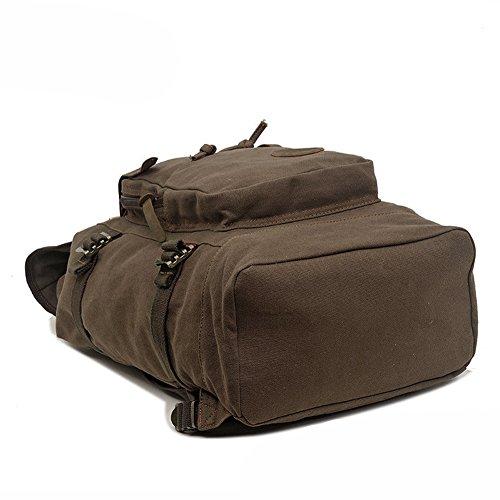 P.KU.VDSL® lienzo retro moda casual mochila grande capacidad bolso de bandolera multi-función montañismo bolsa para la escuela mochila de viaje morral del ordenador portátil (ejército verde) ejército verde