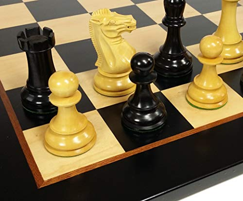 Weighted Double Staunton Chess Pieces (HPL Black 4 5/8 inch King Double Queens Large Anderssen Staunton Chess Men Set with 22 inch Black and Birdseye Maple Board - NO Storage)