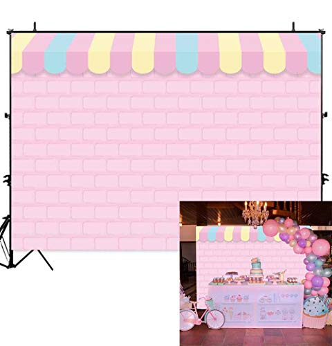 Allenjoy 7x5ft Pink Brick Wall Ice Cream Shop Backdrop for Birthday Party Baby Girl Shower Decorations Photography Background Photo Booth Cake Table Banner ()