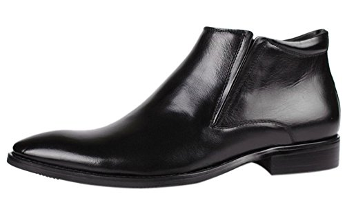 Boots Black Boots by Dress Men Casual Zipper Leather Santimon Formal Chelsea Shoes dfPB6qd