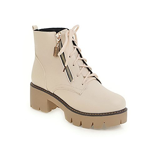 Strap Up Leather Heel Boots Waterproof Manmade High Closed Womens To Toe Lace Dye Match 1TO9 Fashion Urethane MNS02616 Boots Warm Beige Smooth Lining Adjustable WXZ0zqx7
