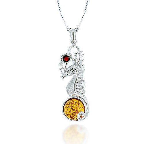 Chuvora Rhodium Plated 925 Sterling Silver Amber and Garnet Gemstone Sea Horse Pendant Necklace, 18 inches