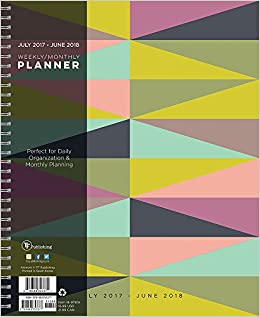 2018 academic geometric 9x11 daily weekly monthly planner july 2017 june 2018 calendar