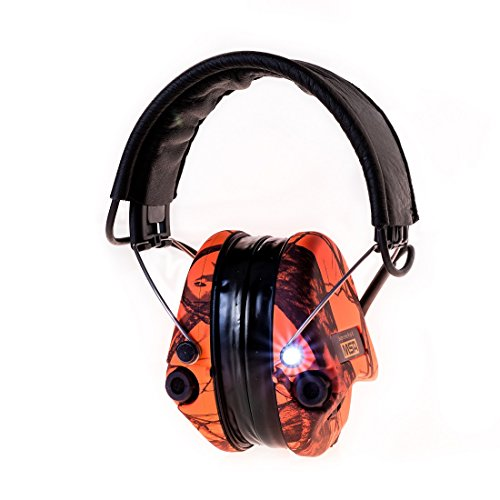 MSA Sordin Supreme Pro X with LED Light - Electronic EarMuff with black leather band and Orange-CamoCups