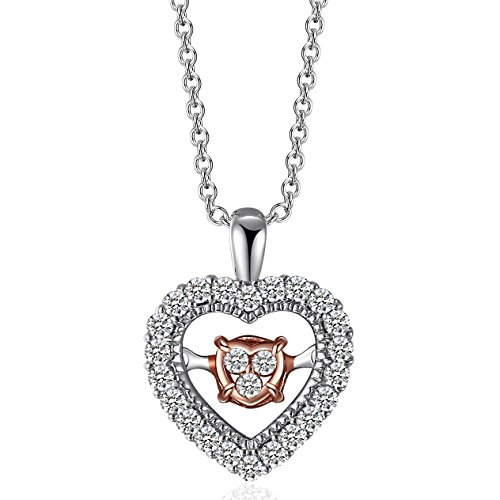 Caperci Sterling Silver Two-Tone Diamond Accent Open Heart Pendant Necklace for Women (Accent Open Heart)